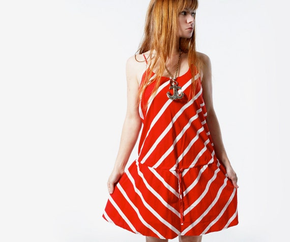 Vintage 80s Red and White CANDY STRIPED Summer Dress