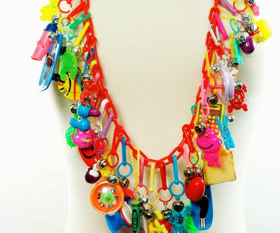 Ultimate 80's CHARM Necklace - FRINGE Statement Necklace - OOAK