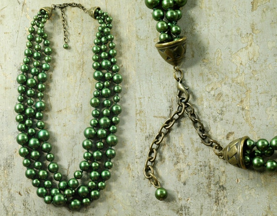 Vintage 50s PEACOCK GLASS Beaded Twist Necklace
