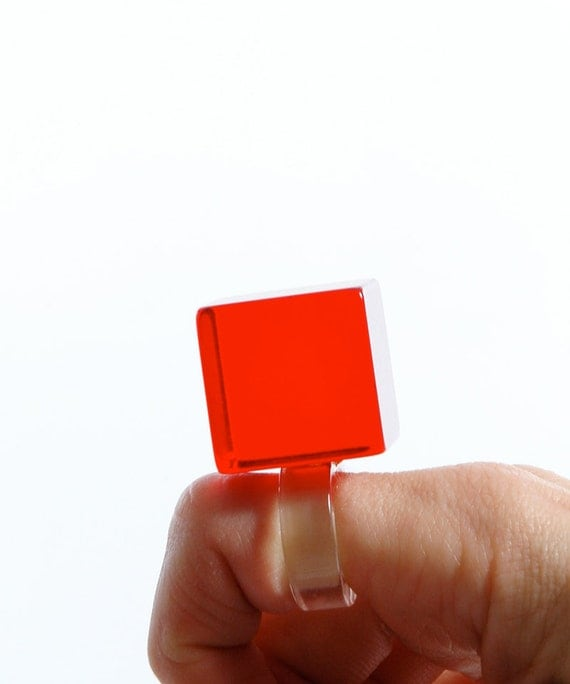 Vintage 60s RED Square JELLO Acrylic Ring - Statement Ring - Size 6.5