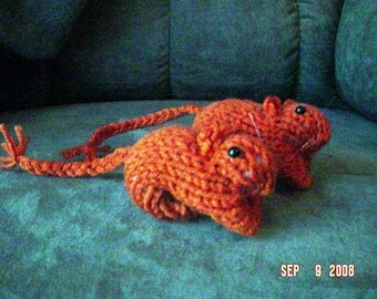 Knitted Gerbil  1 - Rust Color