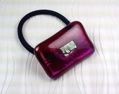 mmm DESIGN studio - fused glass red glass dichroic ponytail holder p504