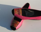 FUCHSIA PEEP-TOE Low Shoes - size 5 - '80 - made in Italy - new and never worn