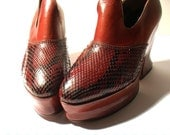 Brown PYTHON and CALF WEDGES - size 5.5 - '70 - Made in Italy - New and Never Worn