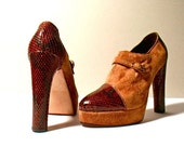 Vintage shoes: red snakeskin and brown suede plateau pumps - Size 5.5 - 70s - Made in Italy - Unworn