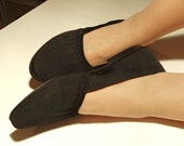 Black flats 7.5 fabric slip on spring shoes new vintage 80s unworn