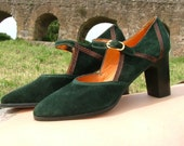 Dark Green MARY JANE with Brown Python - size 6 - 70s - Made in Italy - New and Never Worn