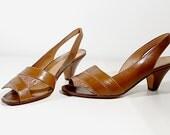 brown sandals 6 7 leather heeled new vintage 80s retro unworn