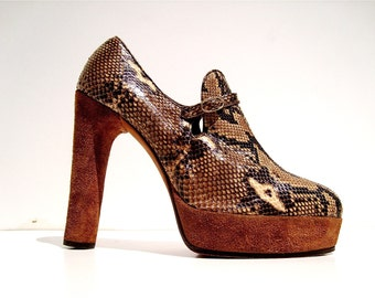 Vintage shoes: light python leather heeled pumps - Size 5.5 - 70s - Made in Italy - New and never worn