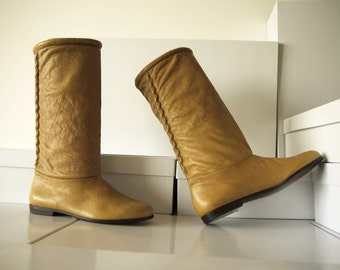 Brown soft leather boots - size 7 - 80s - Made in Italy - New and Never Worn