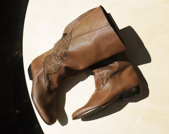 Brown calf and python boots - size 6.5 - 80s - Made in Italy - New and Never Worn