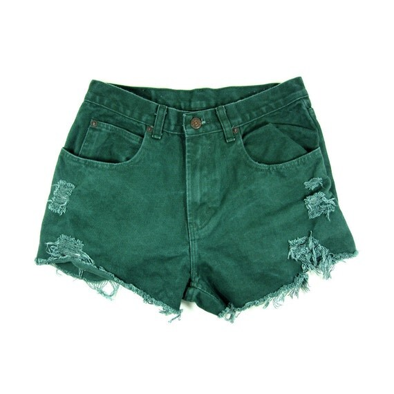 MADE TO ORDER: Vintage Green Shorts 28W