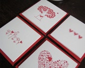 Mini Valentines Day Note Cards, Set of 12 Assorted