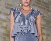 FASHION NINJA HEMISPHERE dress top grey gray velvet stretch knit ruffle ruffles circular flounce tunic top