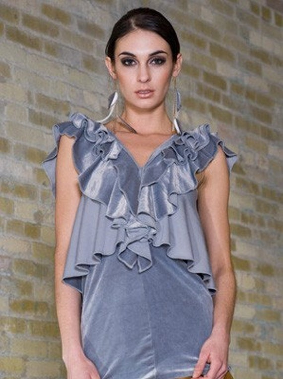 FASHION NINJA HEMISPHERE dress top grey gray velvet stretch knit ruffle ruffles circular flounce tunic top