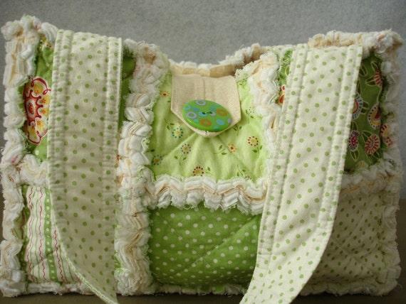 "Custom Rag Quilt Purse ""Spring Green"" by Mary Engelbreit"