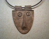 Artifact Inspired Unpolished Copper Face Pendant