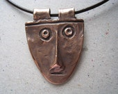Mississippian Face Rustic Copper Pendant