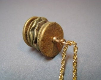 Artifact Inspired Textile Pattern Roller Bronze Pendant Vertical - Textile Pendant - Bronze Necklace
