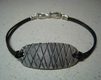 Small Gaming Piece Oxidized Fine Silver Bracelet on Leather Cord - Leather Bracelet