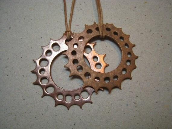 Rustic Sun Disk Reversible Copper Pendant