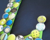 Bottle Cap Wooden Initial Letter  Lime Green and Blues
