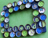 Friends Lime and Turquoise Bottle Cap Picture Frame
