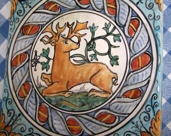 Ceramic Tile Deer Design, Hand Painted Maiolica