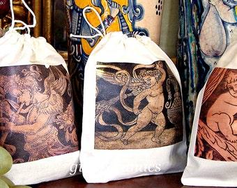 Set (6) drawstring Cotton Bags