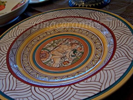 Majolica Large hand painted Italian Renaissance Ceramic Platter/Bowl. Finished with a fine Italian Glaze.  Food Safe.