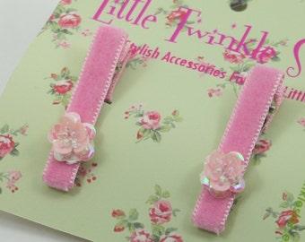 Pink velvet clip