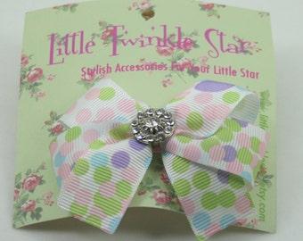 bow hair clip with crystal buckle