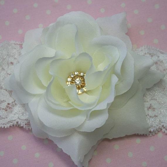 White rose headband with rhinestone