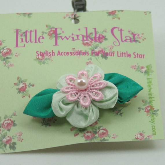 Thai silk flower barrette with lace