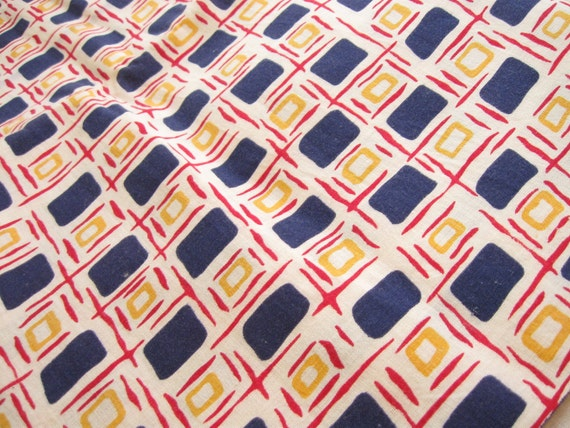 30s Feed sack Vintage Fabric Yardage Red and Blue Squares