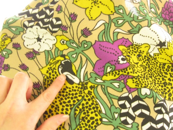 Reserved for JEN 70s Leopard Print Vintage Fabric Yardage, Purple and Yellow