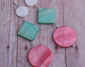 Earrings Mother of Pearl Long Dangle Earrings in Pink Green and White