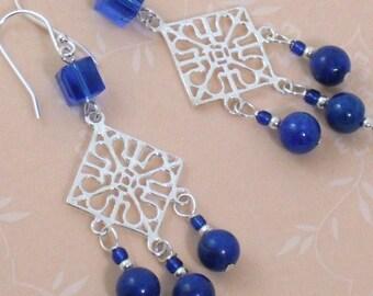 Earrings Lapis Lazuli Sterling Silver Chandelier Earrings, Blue Stone and Crystal Earrings, Lapis 925 Chandelier Dangle Earrings