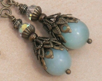 Earrings Amazonite and Oxidized Brass Vintage Style Dangle Earrings