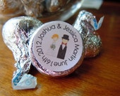 1/2 order Bride and Groom Hershey Kiss Wedding Stickers Personalized