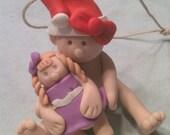 Baby Girl Christmas Ornament Polymer Clay