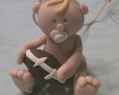 Baby Boy with Football Polymer Clay Ornament