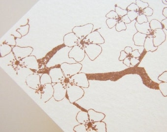 Cherry Blossom Handstamped Card