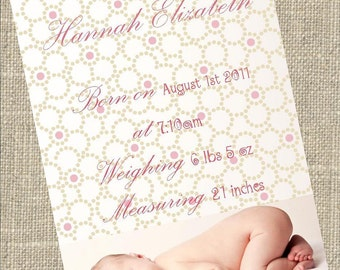 Baby Girl Birth Announcement with delicate lace flowers