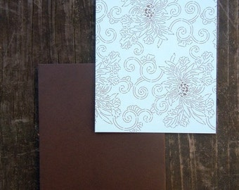 Chocolate Brown and Pool Blue Chrysanthemum Flat notecards set of 8