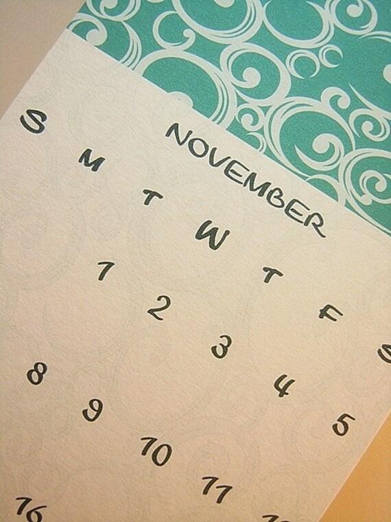 16  Month Vertical Calendar in Teal