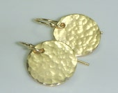 Gold Disc Earrings with a Hammered Finish
