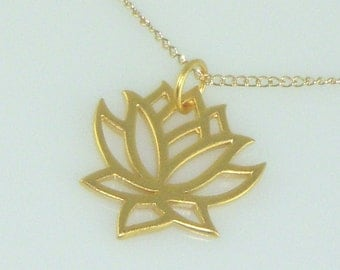 Gold Lotus Charm Necklace, Free US Shipping