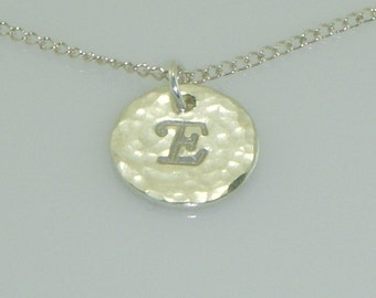 Sterling Silver Initial Necklace-Hammered Finish