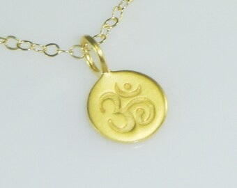 Small Gold Ohm Charm Necklace-Yoga Jewelry